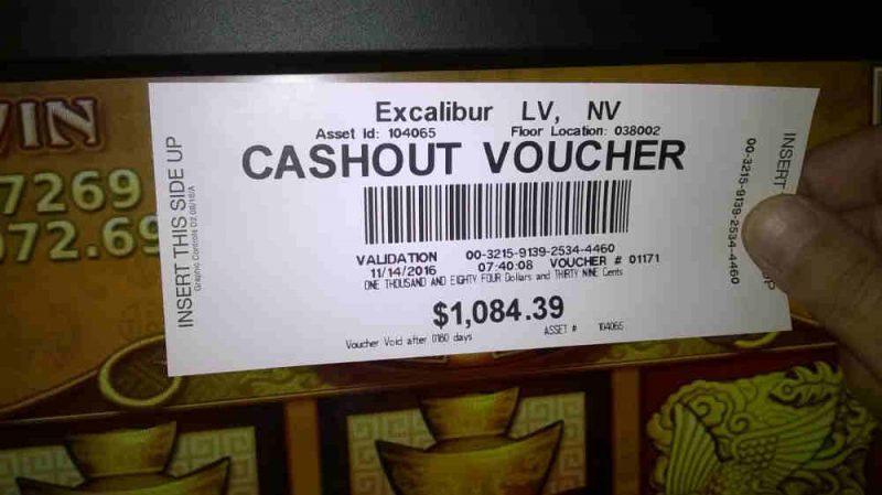 Cashout Voucher Excalibur 14-11-2016