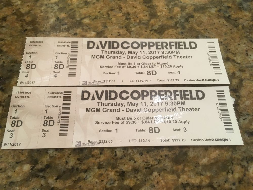 Tickets show David Copperfield