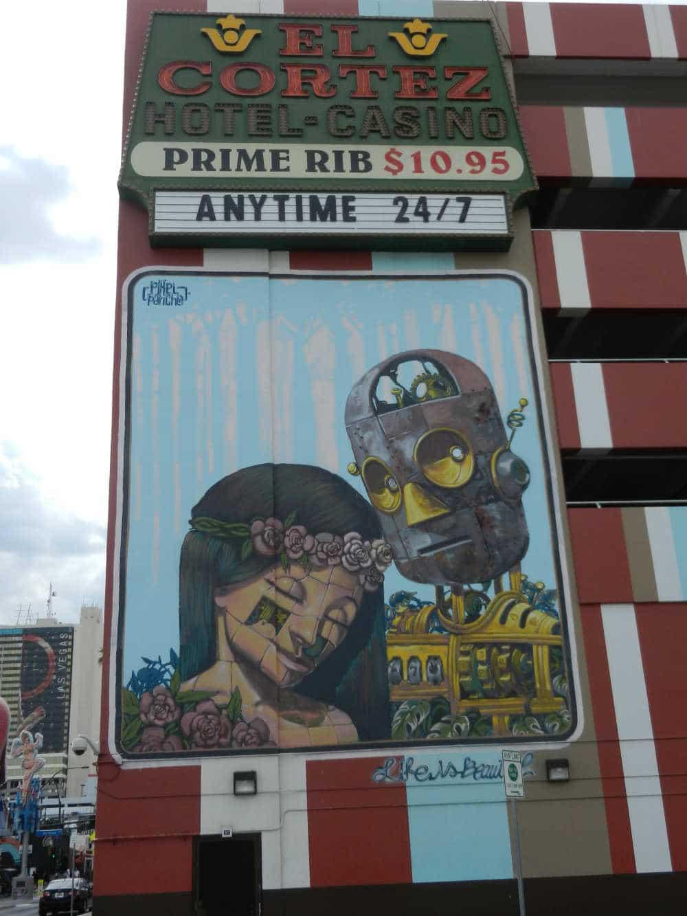 Muurschildering bij El Cortez Casino