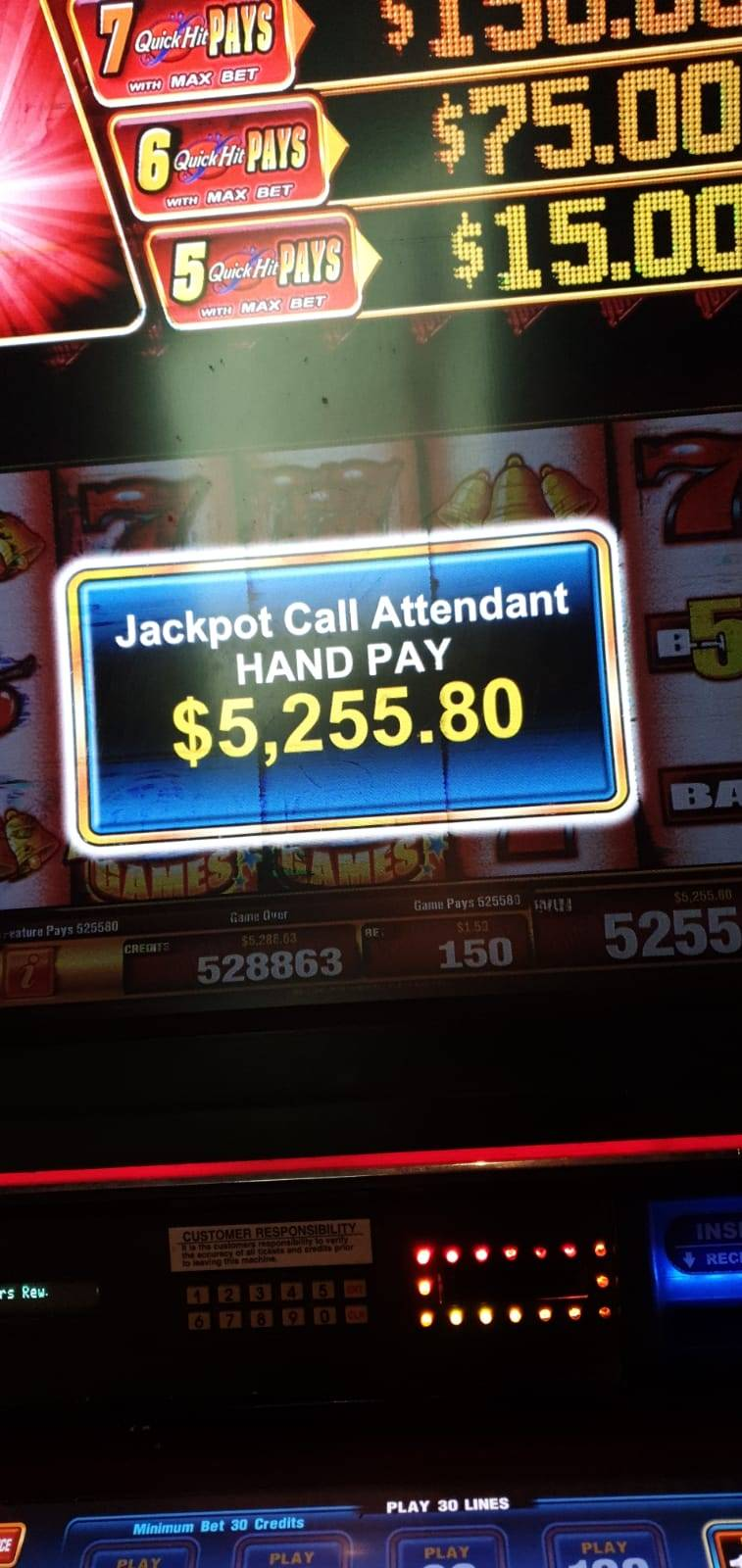 Jackpot Quick Hit Fever gokkast, Hand Pay