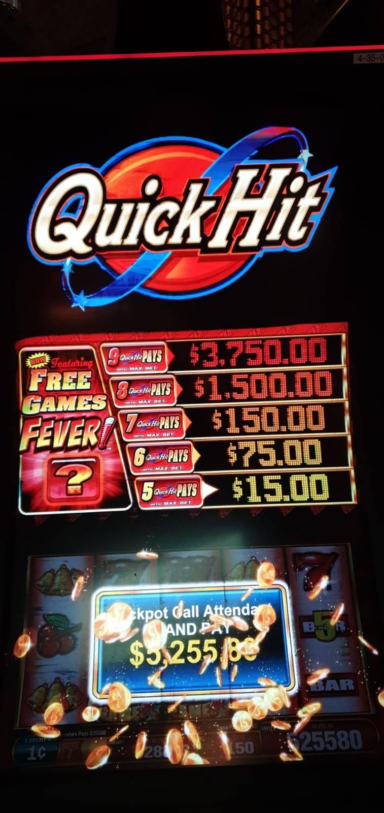 9 Quick Hits Jackpot gewonnen